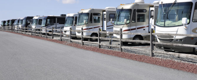 row of many new recreation vehicles