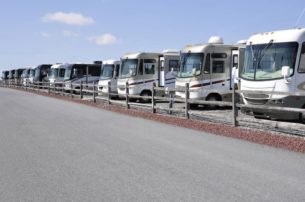 row of many new recreation vehicles